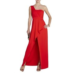 Bcbgmaxazria Kristine One-Shoulder Peplum Gown Women's Bright Red 0 ($338) ❤ liked on Polyvore