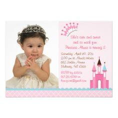 Sweet Princess Castle Photo Birthday Invitations