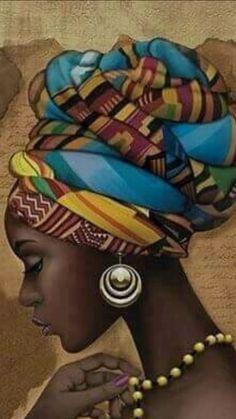 African Art African Hair Wrap, African Love, African Girl, African American Art, African Design, Native American Art, African Drawings, African Art Paintings, Black Girl Art