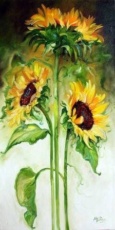 """""""TRIPLE SUNNY SUNFLOWERS"""" by Marcia Baldwin: From my Floral Abstract series 2010, this original oil painting depicts 3 lovely and huge sunflowers, fresh from my garden. Sunflowers shout Happiness ~ Brighten you day ~ Joy to what lies ahead. E..."""
