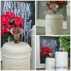 Switch out the plain knobs on my canisters with something more impressive. These are doorknobs.