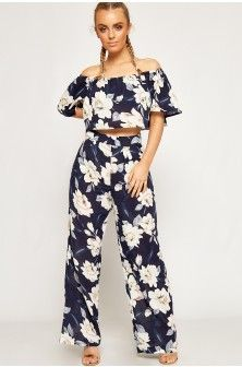 Paige Floral Bardot Crop Top Trousers Co-Ord-87793-20
