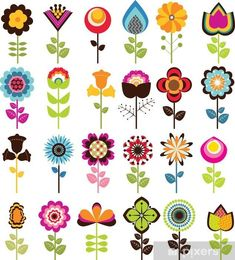 Folk Embroidery Patterns Retro Flowers Pixerstick Sticker - Textures - Retro Flowers Sticker ✓ Easy Installation ✓ 365 Day Money Back Guarantee ✓ Browse other patterns from this collection! Folk Art Flowers, Retro Flowers, Flower Art, Draw Flowers, Flower Prints, Cartoon Flowers, Hippie Flowers, Flower Ideas, Folk Embroidery