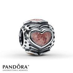 Pandora Hearts Charm Rose Enamel Sterling Silver