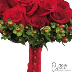 Red Roses and Hypericum Bouquet: Bride & Groom Collection   http://www.bellaweddingflowers.com/red-roses-hypericum-bouquet.html
