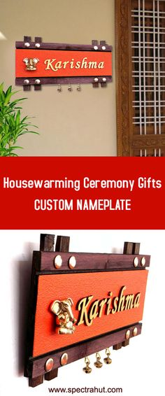 Name plate for Housewarming gifts from spectrahut. Handmade customized nameplate for Housewarming ceremony gifts ideas Wooden Name Plates, Door Name Plates, Name Plates For Home, Personalized Name Plates, Black And White Art Drawing, Name Plate Design, Decoration For Ganpati, Name Boards, Living Room Decor Colors