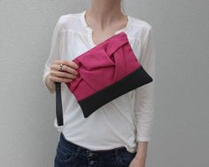 Pink Wristlet Clutch, Faux Leather Purse, Pink Gray Clutch, Origami Clutch Bag, Large Zipper Clutch, Pink Vegan Clutch, Casual Hand Bag by AikoThreads on Etsy https://www.etsy.com/listing/230148857/pink-wristlet-clutch-faux-leather-purse
