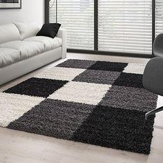 Black And Grey Rugs, Black And White Living Room, Crochet Carpet, Crochet Home, Rya Rug, Pom Pom Rug, Shaggy Rug, Diy Pillows, Modern Rugs
