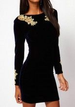Navy Blue Patchwork Lace Long Sleeve Mini Dress