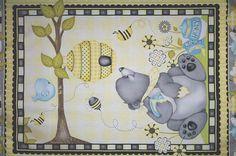 "Henry Glass ""Honey Bee Mine"" premium cotton fabric Honey Bear Panel  HG005"