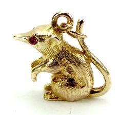 Vintage 9ct Gold Sitting RAT Charm Ruby Red EYES 1965