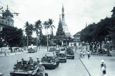 """This week in February Armoured cars of the British Armoured Brigade (the """"Jungle Rats"""") patrol Sule Pagoda Road. The Armoured Brigade arrived in Rangoon in February 1942 from North Africa, where it had taken part in key battles against Nazi Burma Campaign, Yangon, Mandalay, North Africa, Military History, World War Two, Southeast Asia, Cambodia, Laos"""