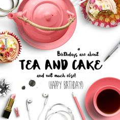 Tea and Cake Birthday Card Digital Birthday Cards, Online Cards, Buy Stamps, Order Confirmation Email, Post Box, Birthday Messages, Raw Materials, Easy Peasy, Thinking Of You