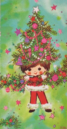 1960's Christmas Card -- this is about the 5th vintage card I've seen with women who have tree-hair. :-)