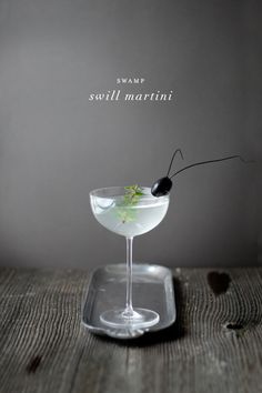 "Halloween cocktail recipes for the adults: Swamp Swill Martini with an edible ""palmetto bug"" garnish. (Don't worry, it's just an olive with some chives.) 