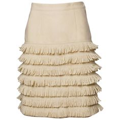 View this item and discover similar for sale at - Darling Lolita Lempicka tiered fringe skirt in wool. Lolita Lempicka, Beige Skirt, Embellished Skirt, Brown Skirts, Tiered Skirts, Vintage Wool, Wool Skirts, Vintage Skirt, Cotton Lace