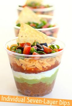 Brilliant individual seven layer dips! I think i've figured out my Cinco de Mayo…