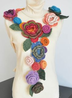 Fabulous Crochet Floral scarf on sale on Etsy - Crochet Multicolor 3D Flowers Scarf by jennysunny