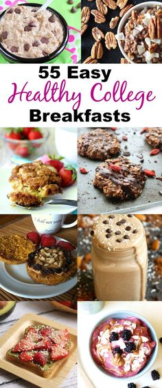 Why would you skip breakfast in college when you can make a delicious, easy and healthy breakfast in your dorm room? 55 Healthy Breakfast Recipes that can be made in a dorm room! #healthy #breakfasts #college