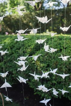 Origami wedding decor: http://www.stylemepretty.com/new-york-weddings/quogue/2016/10/28/hamptons-backyard-elegant-wedding/ Photography: Meg Miller - http://megmillerphotography.com/
