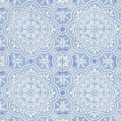 Piccadilly wallpaper design creates a striking pattern of intricately decorated tiles in traditional blues & white. #blue #blueandwhite #wallpaper #bluewallpaper #tilewallpaper #tapet #papierpeint #behang #wallcovering #pattern #colour #coastaldesign #coastalchic