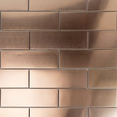 Ivy Hill Tile Metal Copper 2 in. x 6 in. x 8 mm Stainless Steel Metal Floor and Wall - The Home Depot - Ivy Hill Tile Metal Copper 2 in. x 6 in. x 8 mm Stainless Steel Metal Floor and Wall Tile - Copper Tile Backsplash, Kitchen Backsplash, Stainless Backsplash, Stainless Steel Tiles, Backsplash Ideas, Kitchen Cabinets, Metallic Wall Tiles, Steel Wall, Steel Metal