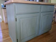 Front of chalk paint kitchen island