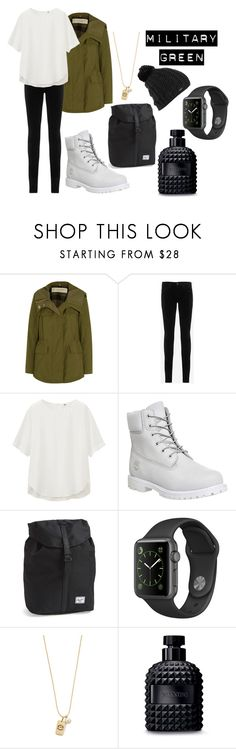 """H"" by hannahjerao on Polyvore featuring Burberry, AG Adriano Goldschmied, Uniqlo, Timberland, Herschel Supply Co., Tory Burch, Valentino and Burton"