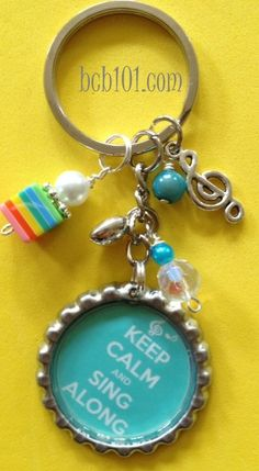 KEEP CALM and SING bottle cap key chain, aqua women, purse, accessories, purse charm, bling, fun, gift idea, gift bag. $14.00, via Etsy.