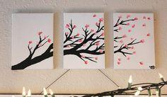 3-Canvas Cherry Blossom Panting