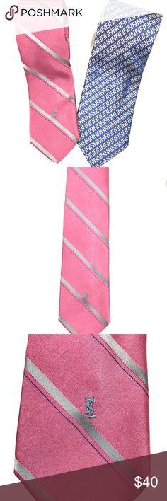 """Fendi & YSL Tie Bundle Two Designer silk Ties. Yves Saint Laurent Tie in salmon/grey stripe with """"YSL"""" embroidery. Fendi monogrammed tie in blue and silver. Accessories Ties"""
