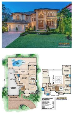 F2-3580 - Catania II two-story waterfront house plan with 3,580 square feet of living area. 4 bedrooms, 4 full baths, 3 car garage.