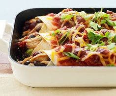 Thanksgiving dinner leftovers take on a Mexican spin when shredded turkey and cranberry sauce is tucked into whole wheat tortillas./