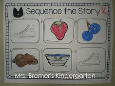 Sequencing activities to go with Pete the Cat and There Was An Old Lady Who Swallowed. Story Sequencing, Sequencing Activities, Preschool Literacy, Preschool Books, Preschool Themes, Book Activities, Preschool Centers, Counting Activities, Vocabulary Activities