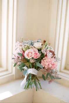 #Pink #roses, #white #roses, #hydrangea, and #dusty miller  Photo by @Alea Moore Moore Lovely #flowers by @Jamie Wise Hendershot Gardens Floral and Wedding Stylist