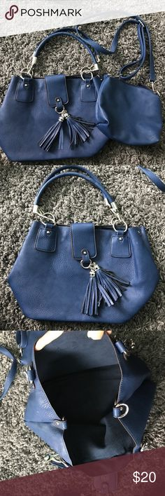 Charming Charlie two set purse Brand new barley used navy blue purse and side bag from Charming Charlie Charming Charlie Bags Shoulder Bags