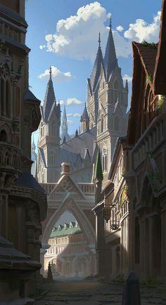 ArtStation - Main street pang p Fantasy Town, Fantasy Castle, Fantasy Map, High Fantasy, Medieval Fantasy, Fantasy World, Fantasy Art Landscapes, Fantasy Landscape, Fantasy Concept Art