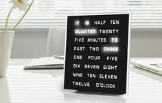 Jebiga   Design & Lifestyle - A word clock that changes every five minutes.