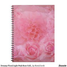 Dreamy Floral Light Pink Rose Collage Note Book