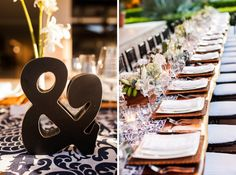Reserva Conchal wedding by Four Winds Weddings. Navy blue printed table runners with rattan chargers and bud vases on Guanacaste wooden tables. Black ampersand.