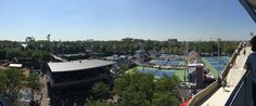 Panoramic view of the National Tennis Center from Arthur Ashe Stadium.