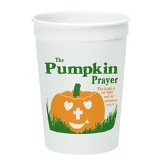 Pumpkin prayer cups. These are great for your Sunday school children or as a give-a-way at your Trunk-or-Treat event at church!