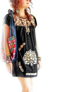Mexican black dress vintage Old Gold embroidery by AidaCoronado, $128.00