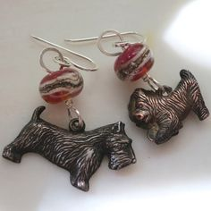 Lucinda Storms : Belvedere Beads - terrier earrings - sterling silver, found dog charms & lampwork glass