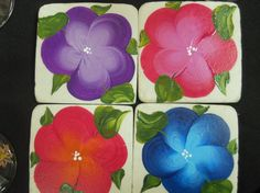 Hand Painted Coasters  Island Garden  Set of 4 by EverMyHart, $35.00