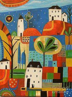 Watercolor Paintings Abstract, Watercolor Illustration, Original Paintings, Karla Gerard, Indian Paintings, Art Paintings, Arte Popular, Naive Art, Whimsical Art