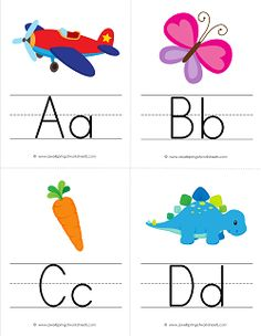 Alphabet Flash Cards -These adorable alphabet flash cards have pictures of things that begin with each letter of the alphabet. Each uppercase and lowercase letter is neatly printed on primary writing lines. Come see all our alphabet flash cards sets! Alphabet Flash Cards Printable, Letter Flashcards, Color Flashcards, Alphabet Cards, Letter Worksheets, Preschool Worksheets, Alphabet Line, Alphabet Writing, Print Flash Cards