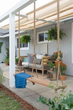Patio Ideas – Summer has actually ultimately arrived. Right here are patio i… – Garten – Balcony Backyard Patio Designs, Pergola Patio, Backyard Landscaping, Pergola Kits, Pergola Ideas, Front Porch Pergola, Outdoor Patio Swing, Front Porch Swings, Pergola Swing