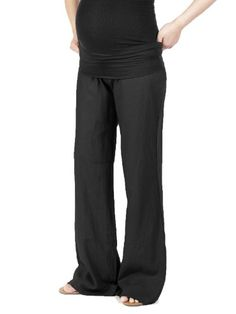 Beachcoco Women's Maternity Fold Over Comfortable Wide Linen Pants