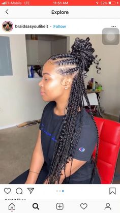 56 Dope Box Braids Hairstyles to Try - Hairstyles Trends Braided Ponytail Hairstyles, Braided Hairstyles For Black Women, African Braids Hairstyles, Weave Hairstyles, Girl Hairstyles, Protective Hairstyles, Protective Styles, Braided Updo, Havana Twist Hairstyles
